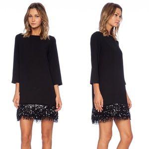 NWT Kate Spade Black Sequin Fringe Mini Dress